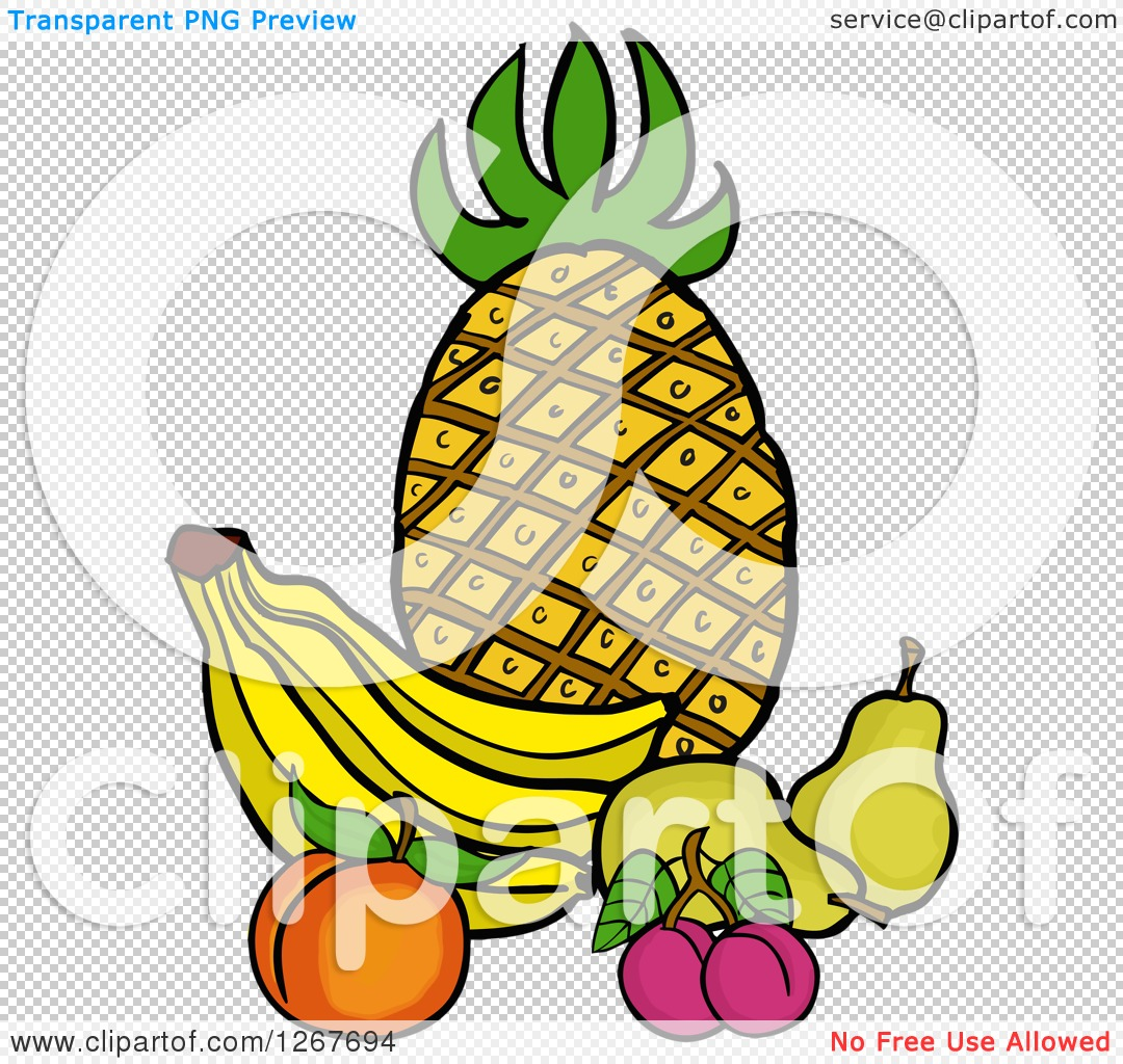 Clipart of a Still Life of Pineapple, Bananas, a Peach, Plums and.