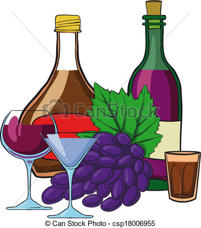 Clipart Vector of Still Life with bottles of wine glasses and.