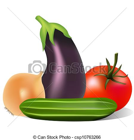 Clip Art Vector of still life with tomato onion cucumber eggplant.