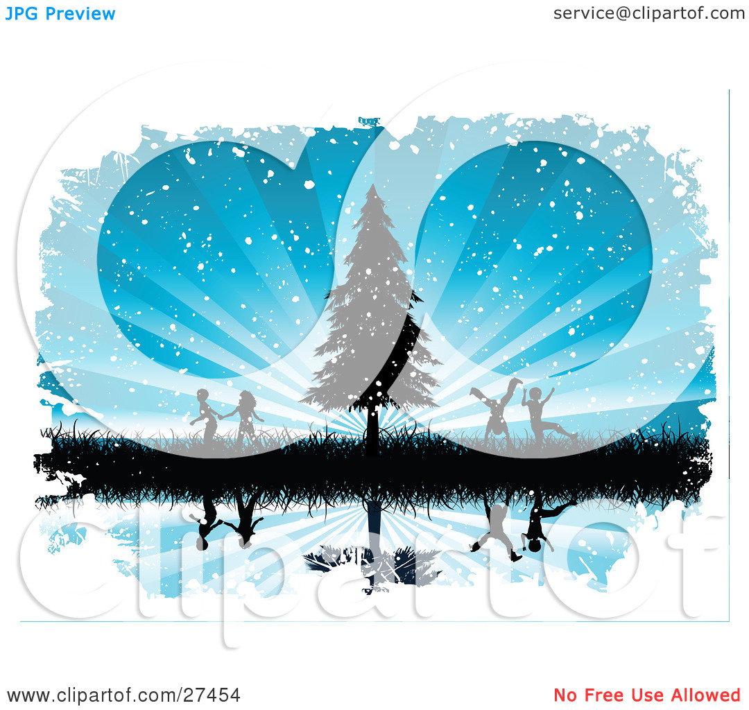 Clipart Illustration of Silhouetted Boys And Girls Running And.