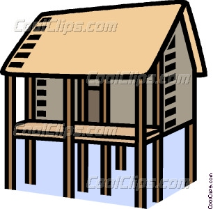 house on stilts Vector Clip art.
