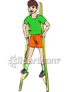 Man on stilts clipart.