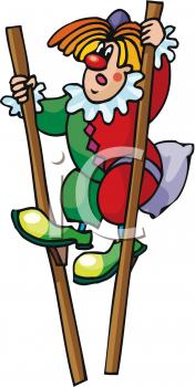 Man dressed as a clown walking on stilts.