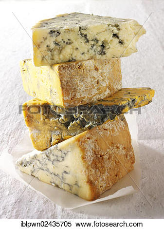 "Stock Image of ""British Blue cheeses, Blue Vinney, Stilton."