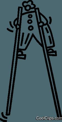 clown walking on stilts Royalty Free Vector Clip Art illustration.