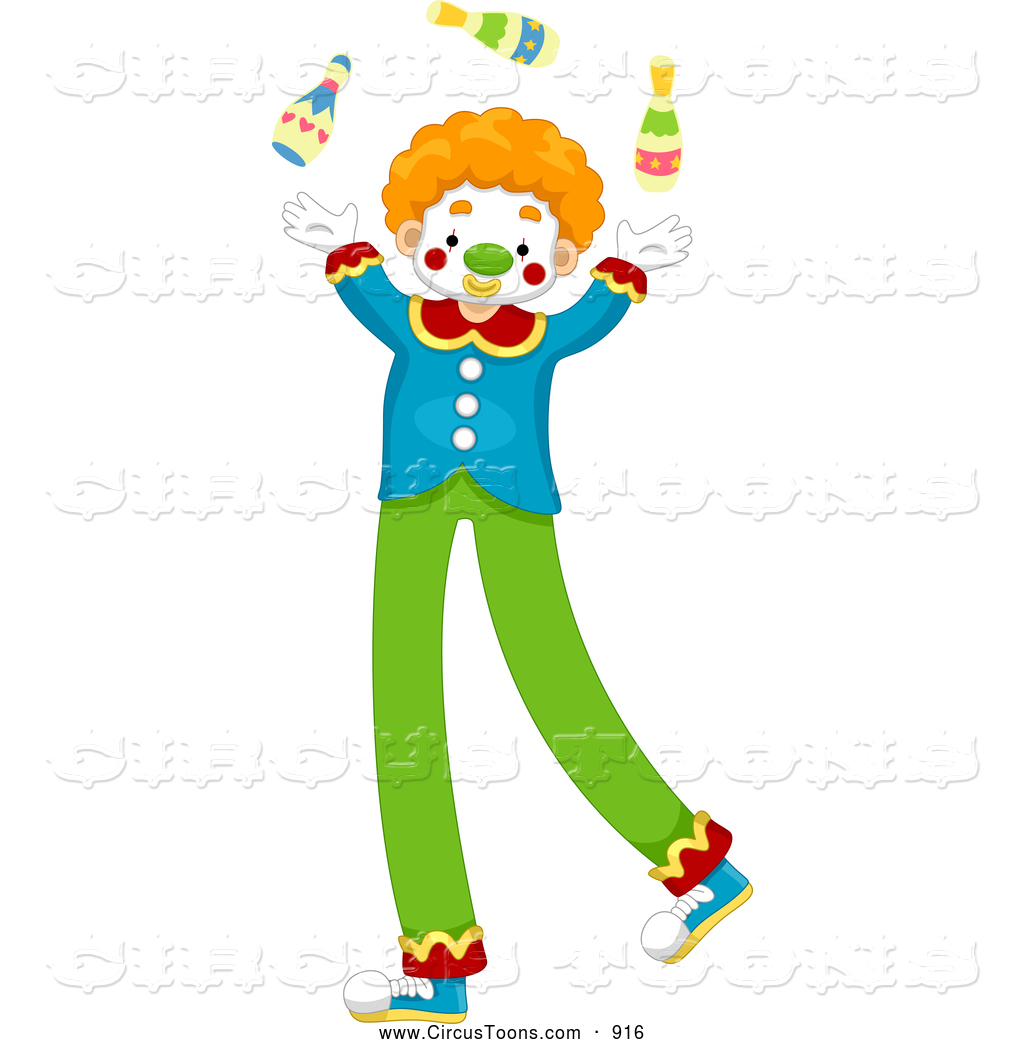 Circus Clipart of a Smiling Juggling Circus Clown on Stilts by BNP.