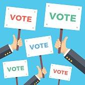 Viele Menschen, Die Stimmabgabe AN Der Wahlurne, Vektor, premium.