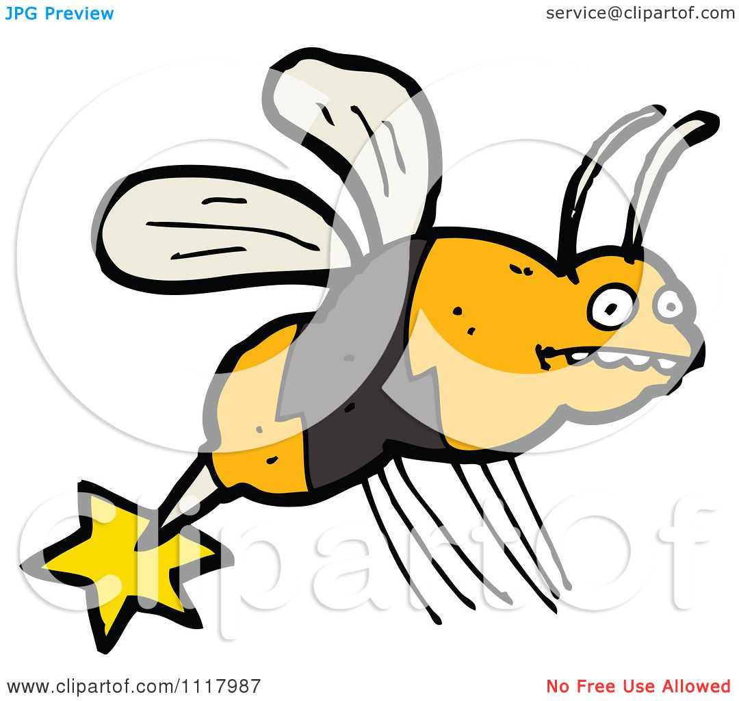 Cartoon Of A Stinging Bee 1.