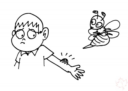 Clipart of bee stinging.
