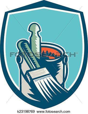 Clip Art of Painter Paint Brush Stirrer Can Retro k23198769.