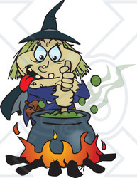Witch Stirring Pot Clipart.