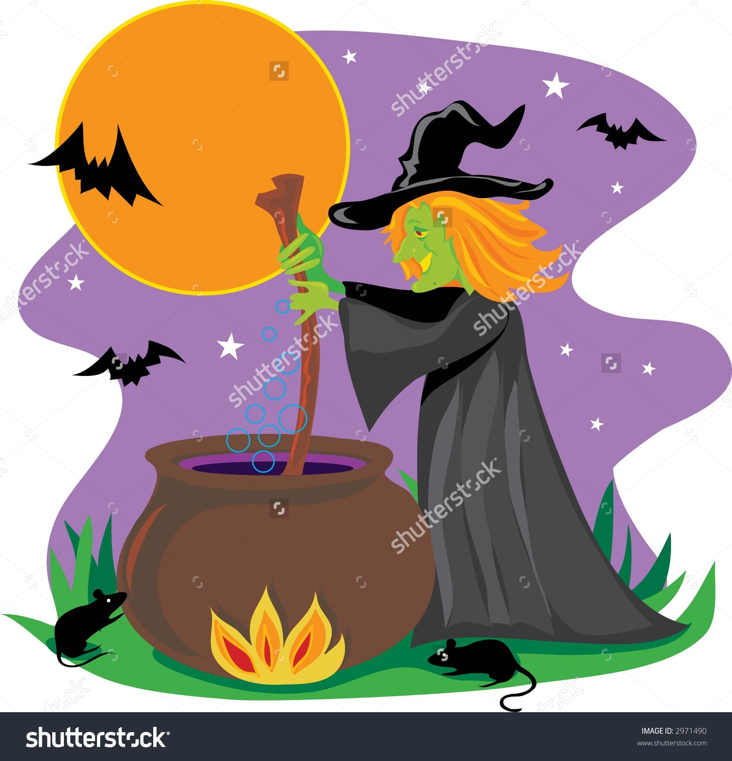 Witch Stirring Black Cauldron Stock Vector 2971490.