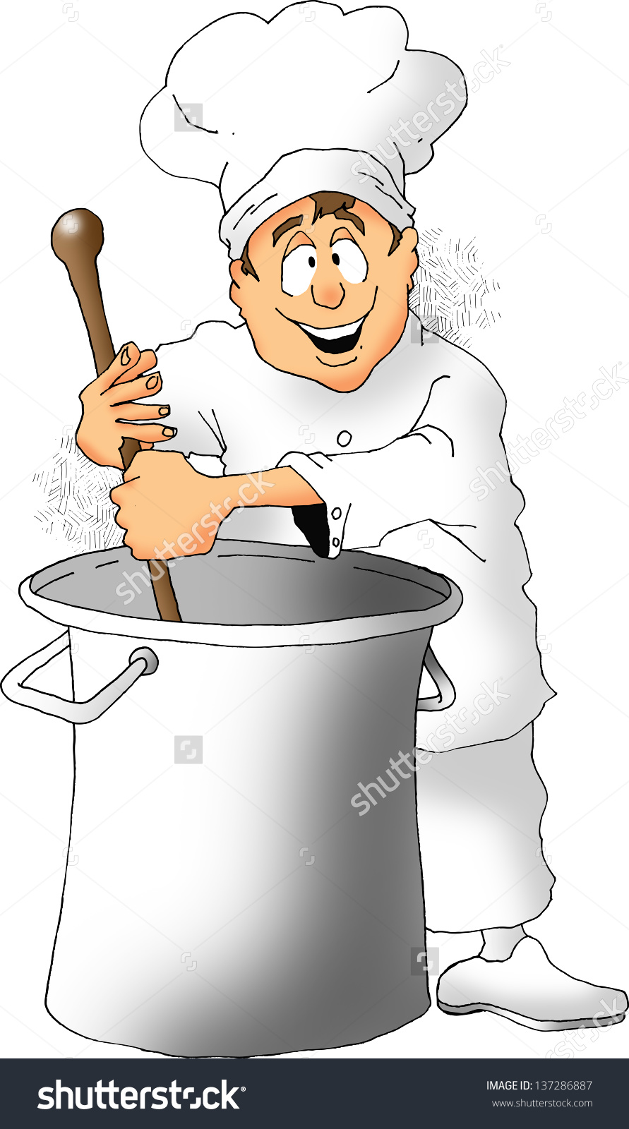 Cartoon Chef Stirring Big Pot Stock Illustration 137286887.