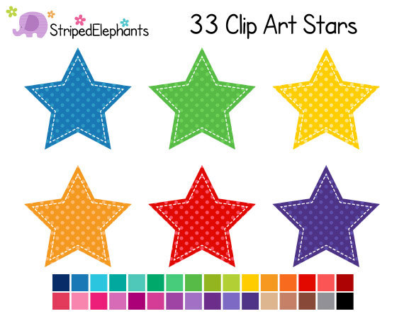 Items similar to Stitched Star Clip Art Polka Dot.