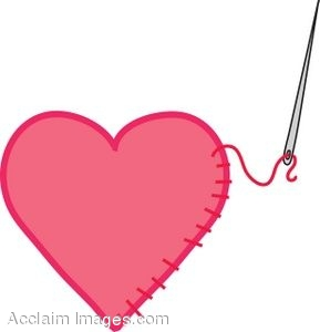 Clip Art of a Heart Patch with Stitching.