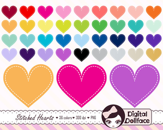Stitched Heart Clipart Heart Graphics Digital by DigitalDollface.