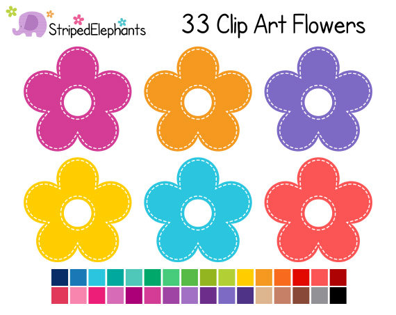 Stitched Flower Clipart Digital Clip Art Instant Download by.