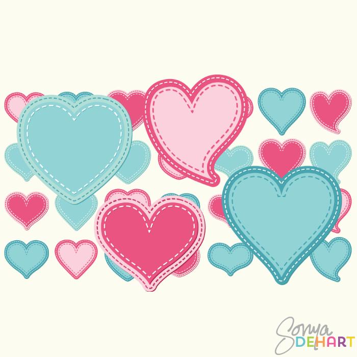 Clip Art Vector Stitched Hearts Set.