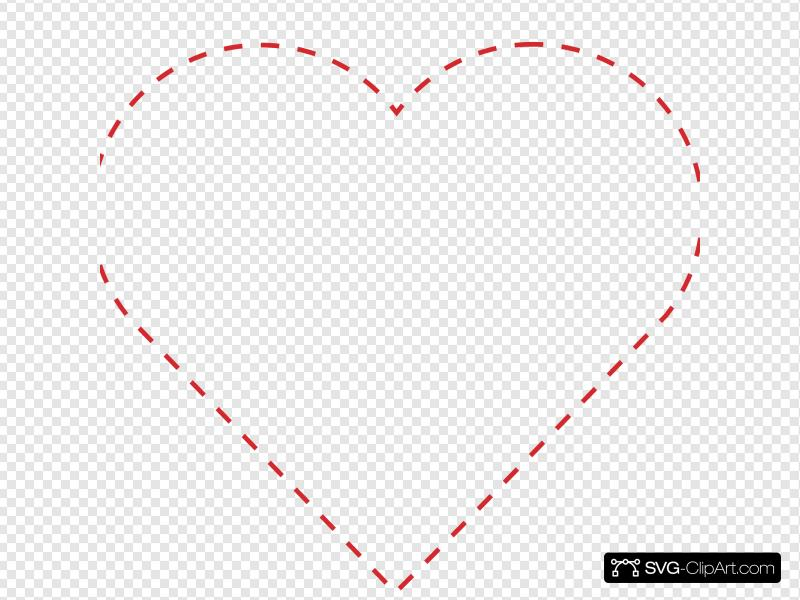 Stitched Heart Outline Clip art, Icon and SVG.