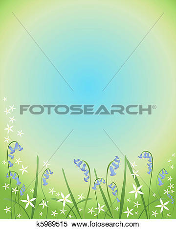 Clipart of bluebells and stitchwort k5989515.