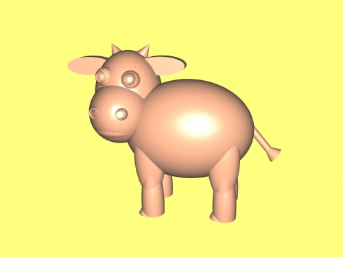 Cute cow 3d model.