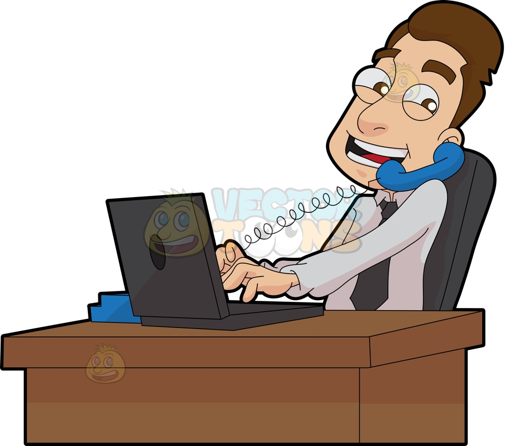 A Male Stockbroker Speaks To A Client While At Work Cartoon Clipart.