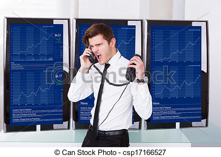 Stock Photo of Angry Stock Broker Talking On Telephone.