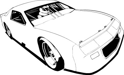 Stock car clipart outline.