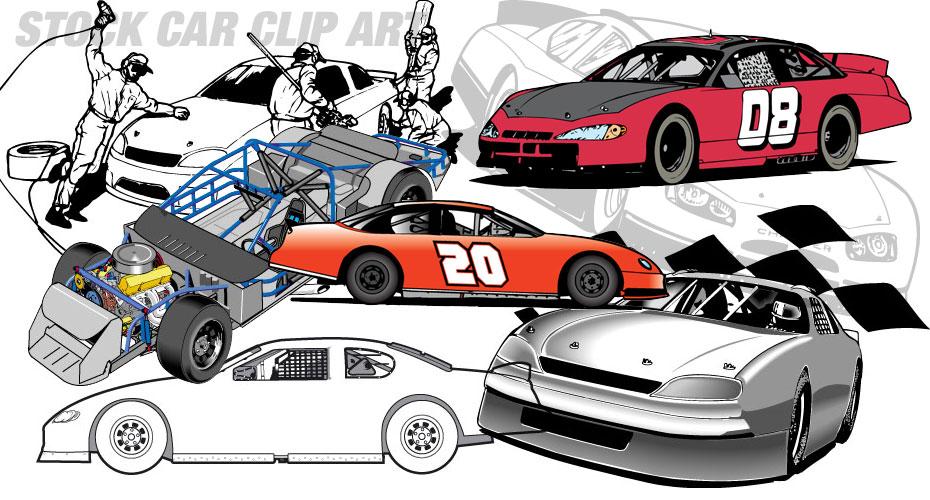 Stock car racing clipart.