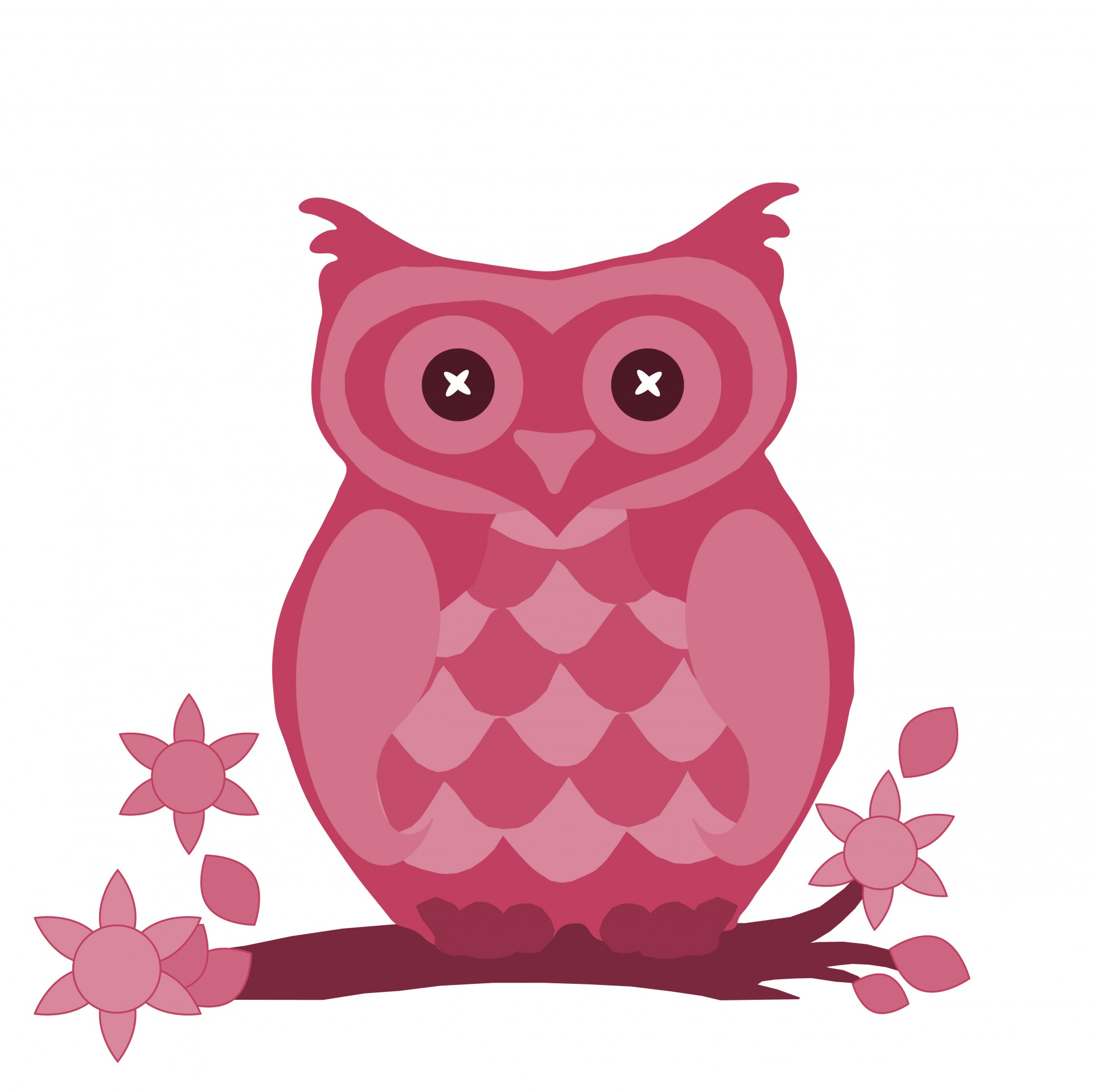 Owl In Pink Cute Clipart Free Stock Photo.