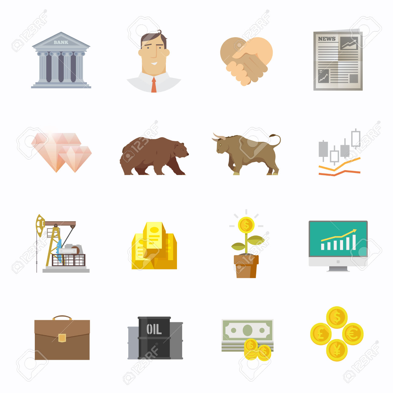 Multicolor Stock Exchange Trading Set Of Icons. The Bulls And.