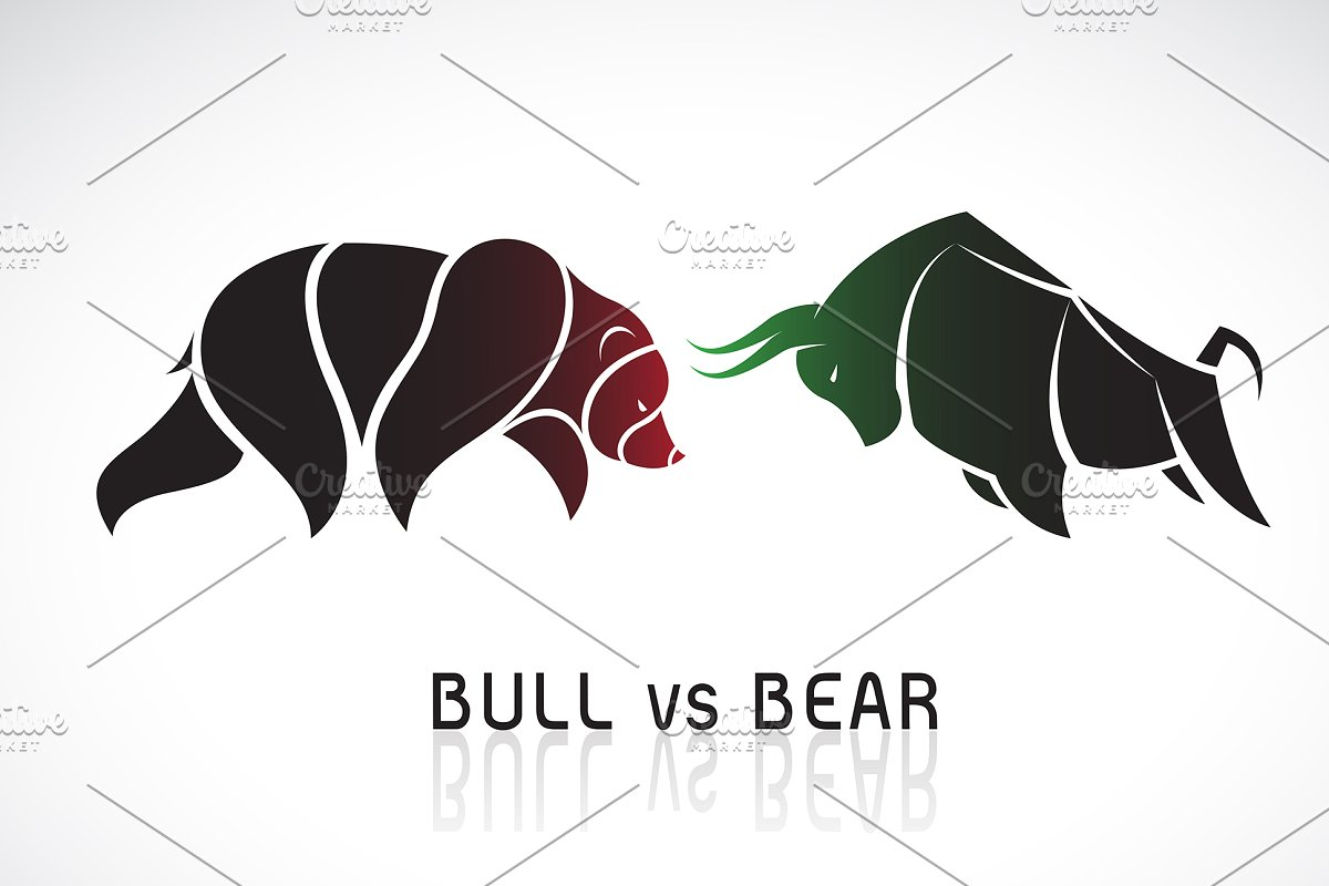 Vector of bull and bear.Stock market.