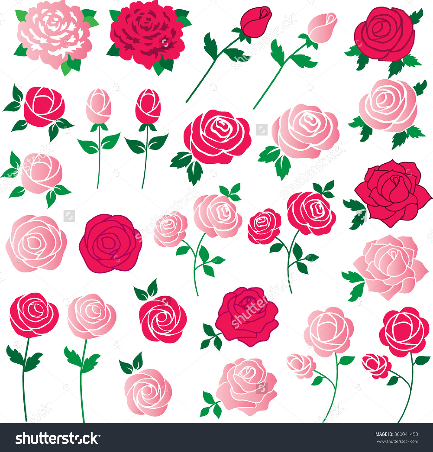 Rose Clipart Stock Vector 360041450.