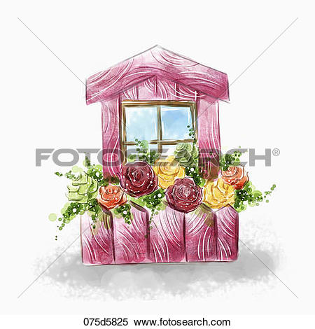 Stock Illustration of The red house with the colorful rose garden.