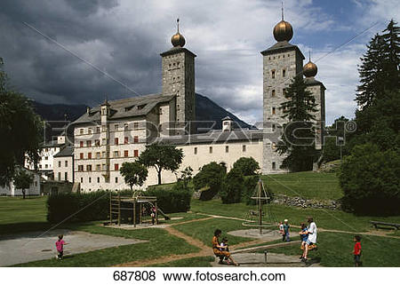 Pictures of Children playing in front of castle, Stockalper Castle.