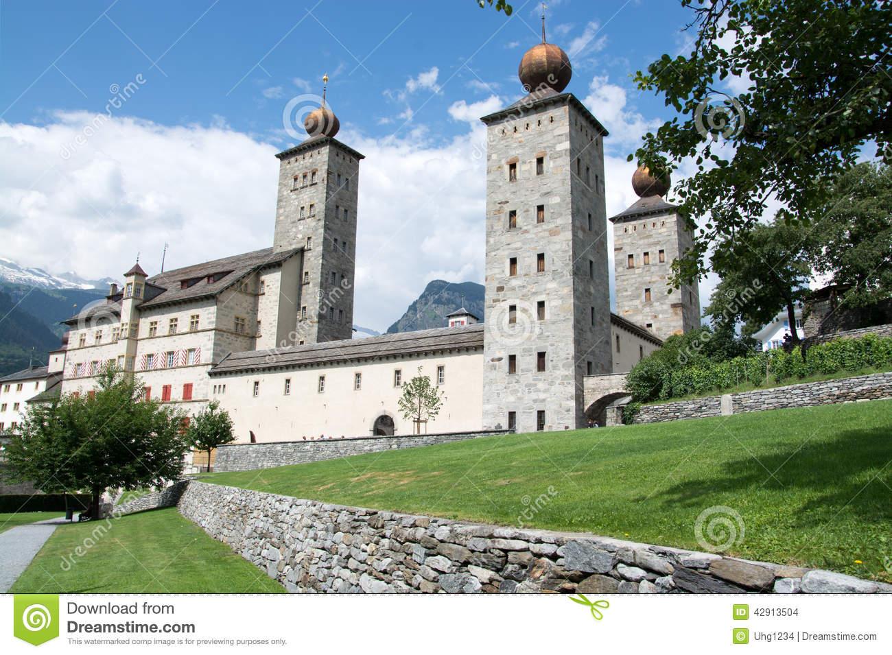 Palace Stockalper, Brig, Valais, Switzerland Stock Photo.