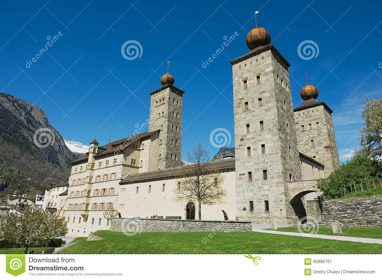 Stockalper Palace In Brig Switzerland Stock Image.