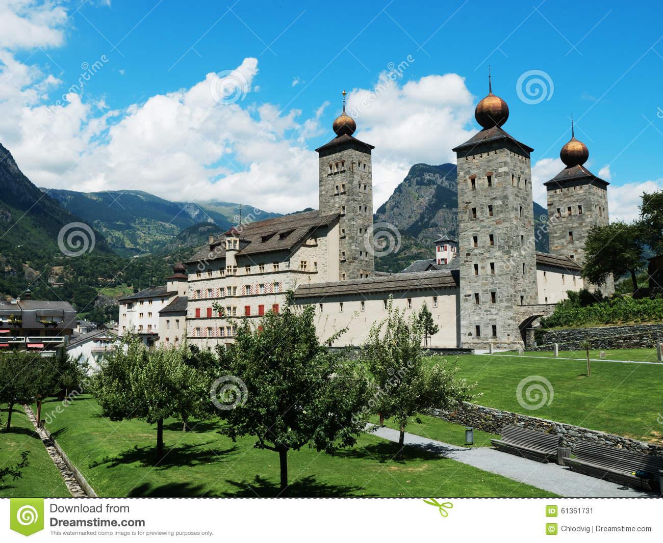 Stockalper Palace In Brig, Switzerland Stock Photo.