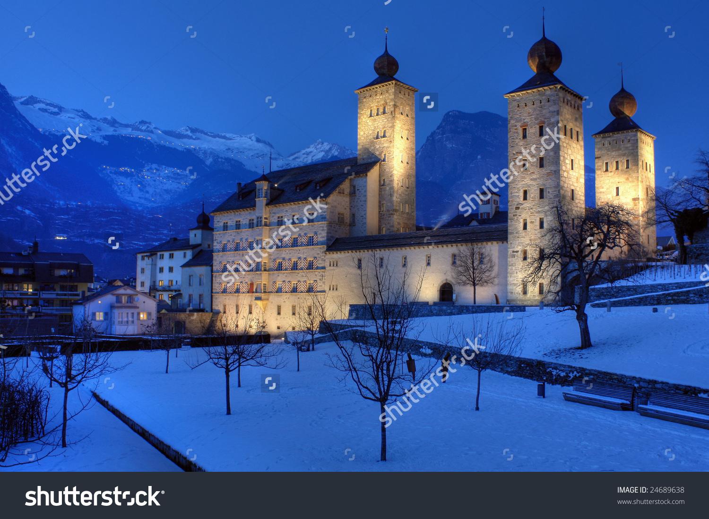 Stockalper Palace, Brig, Switzerland (Hdr Image) Stock Photo.