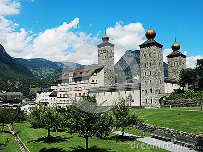 Stockalper Palace In Brig Switzerland Stock Photo.