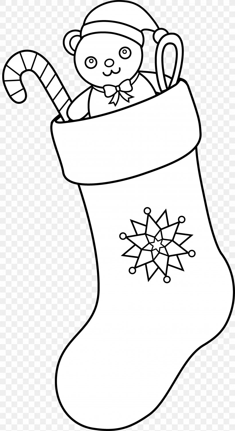 Christmas Stockings Black And White Candy Cane Clip Art, PNG.