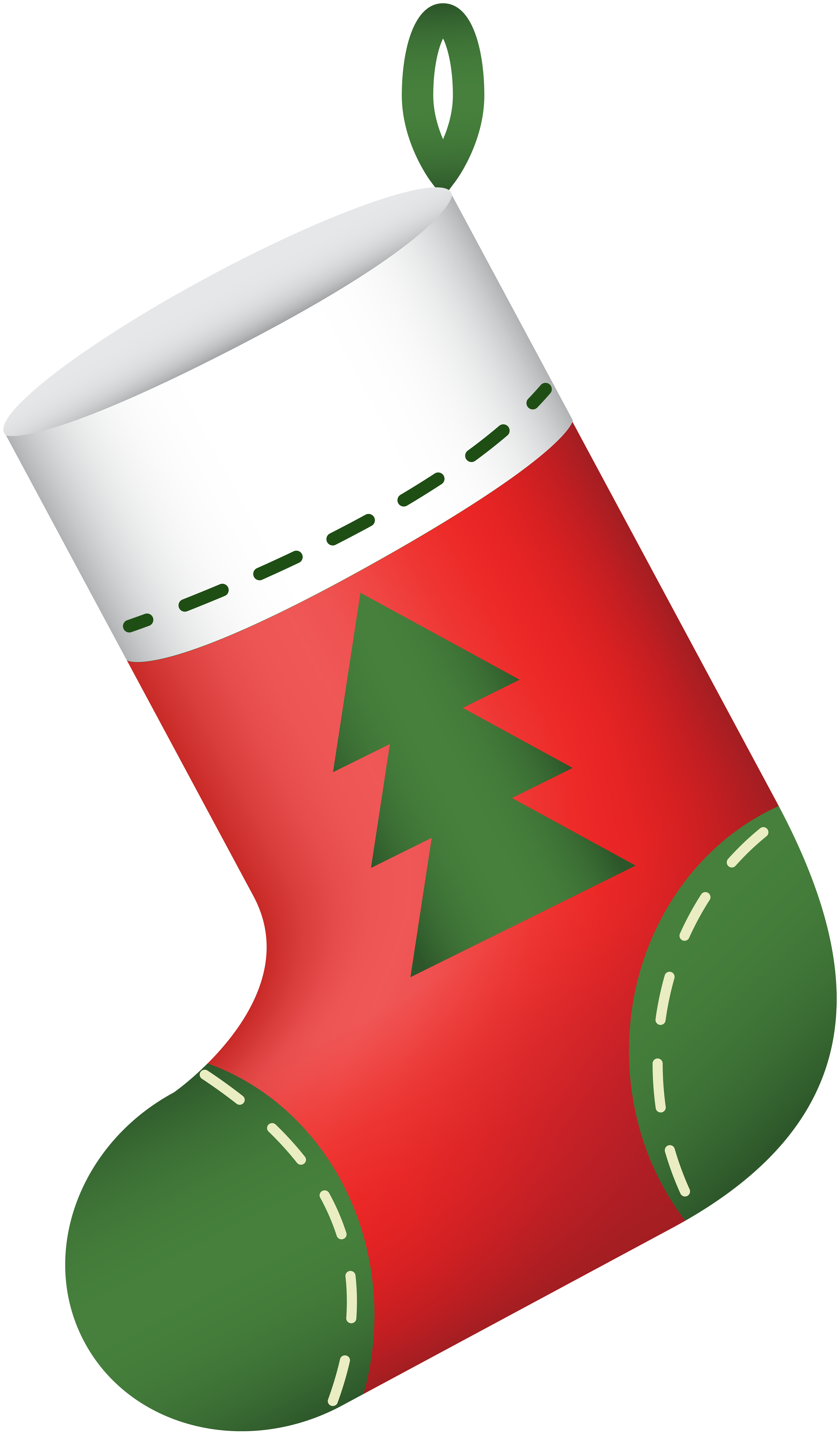 Christmas Stocking Red PNG Clip Art.
