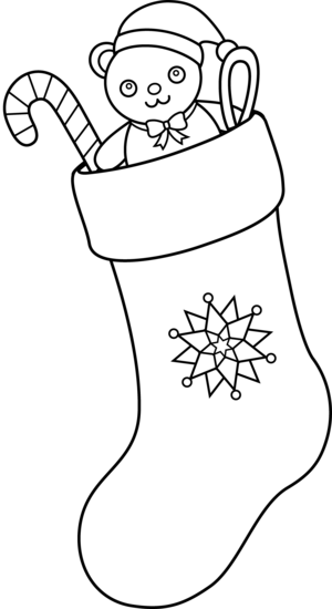 Christmas Stocking Line Art.
