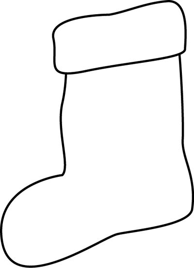 Black and White Stocking Clip Art.