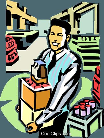 stockroom clerk Royalty Free Vector Clip Art illustration.