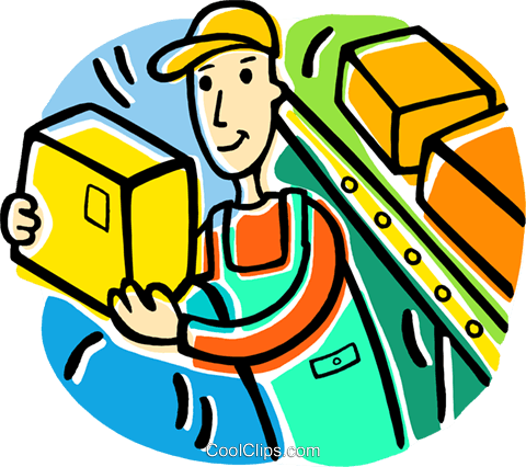 man working in a stockroom Royalty Free Vector Clip Art.