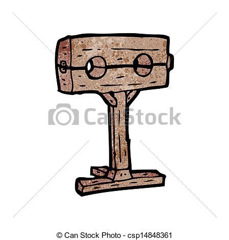 Clip Art Vector of medieval stocks cartoon csp14848361.