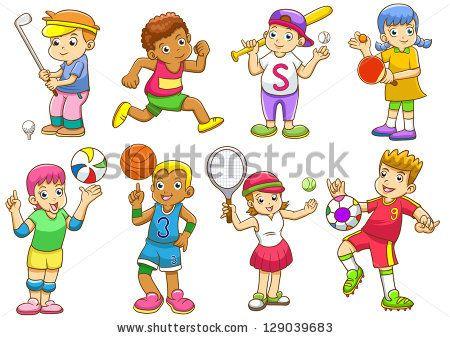 Kids Playing Sports Clip Art.