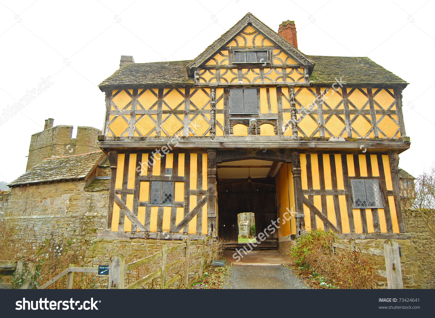 View Of The Elizabethan Gatehouse At Stokesay Castle In Shropshire.