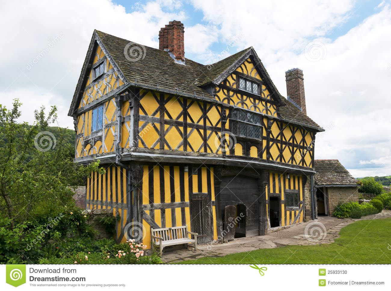 Stokesay Castle Gatehouse Stock Photo.